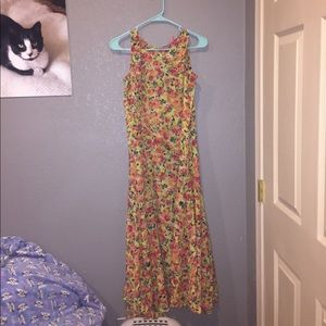 Woman within floral maxi dress